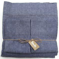 Indigo linen sheet set