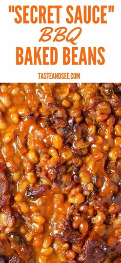 "These ""Secret Sauce"" BBQ baked beans are a perfect balance of tangy, spicy and sweet. The sauce blends the flavors of mustard from the Carolinas, tomato and ketchup from Kansas, vinegar and molasses from Memphis, and the heat from Texas and Florida! It is #BBQ perfection! http://tasteandsee.com"