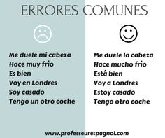 Errores habituales de los estudiantes de español para extranjeros.