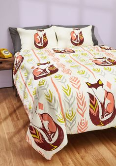 Way Back Den Duvet Cover in Full/Queen - Multi, Print with Animals, Print, Dorm Decor, Critters, Woodland Creature, Cotton, Exclusives