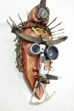 """Recycled Prophet""  found object assemblage mask using antique typewriter parts by Assemblique™"