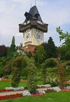 The Uhrturm (clocktower) and Park, Graz, Austria.