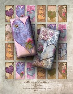 Grungy, Shabby Hearts 1 x 2 inch Domino Digital Collage Sheet -  INSTANT Printable Download - Jewelry, Scrapbook, Pendants