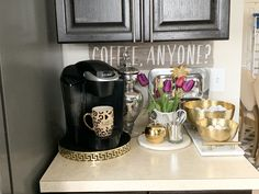 I made over my kitchen counter with beautiful decor. I definitely have a transitional glam style which you don't see much in kitchens! I'm in love with it.
