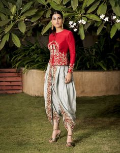 Red dupion silk parrot motif embroidered jacket and aqua grey embroidered dhoti pants Fabric: Dupion Silk Indian Fashion Dresses, Indian Designer Outfits, India Fashion, Pakistani Dresses, Designer Dresses, Fashion Outfits, Indian Fashion Trends, Designer Clothing, Dress Fashion