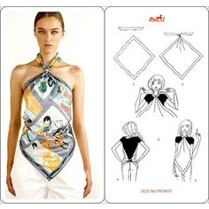 I came across these Hermes scarf knotting cards where they used scarves to create fashion tops and dresses. I like coming up with different ways for wearing a scarf. Although these days I am a big … Scarf Top, Scarf Shirt, Shirt Skirt, Diy Shirt, Scarf Dress, Ways To Wear A Scarf, How To Wear Scarves, Skirt Fashion, Diy Fashion
