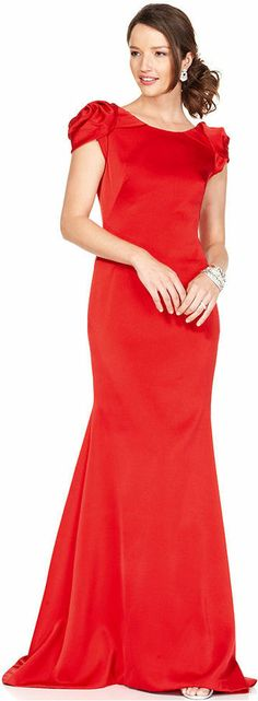 JS Collections Dress, Cap Sleeve Open Back Evening Gown