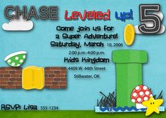 Super Mario inspired Birthday Party Invitation: http://www.etsy.com/listing/80638206/super-mario-style-birthday-invitation