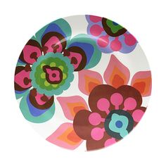 Gala Dinner Plate  Gala gala hey! It's a Ballroom blitz! Swirl through the party in a stunning shower of flowers and feathers that fan the dance floor.  • High-grade, glazed melamine; scratch and shatter resistant; non-absorbent; bpa-free • 11-inch diameter dinner plate • Heat-resistant to 356-degree F, 180-degree C; dishwasher safe; not for microwave use • Indoor-outdoor use; coordinates with other French Bull products