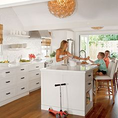 Sleek and Modern Kitchen - 20 Beautiful Beach Cottages - Coastal Living