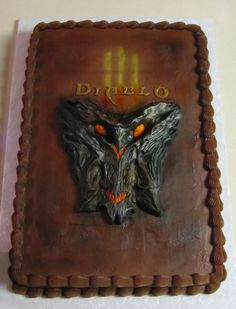 Diablo III cake for midnight release at GameStop - Chocolate Fudge cake with Chocolate Mocha buttercream icing.