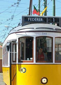 Roger Federer riding a tram in Lisbon during the 2010 Estoril Open