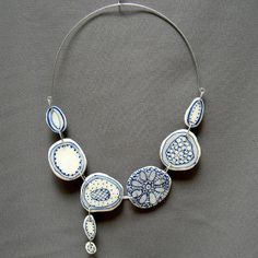 Crochet sand dollar porcelain necklace