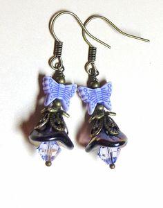 Earrings Amethyst Purple Iridescent Czech by SpiritCatDesigns, $4.95