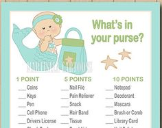 What's in your purse baby shower game, mermaid baby shower games. under the sea Instant Download.
