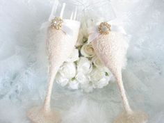 Weddings Champagne Glasses Champagne Flutes Toasting by KPGDesigns, $50.00