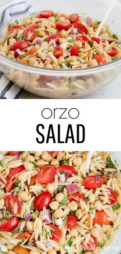 Topped with a delicious homemade vinaigrette, this orzo salad is so fresh and loaded with fantastic flavor. Such a healthy and filling side dish recipe for summer! Lettuce Salad Recipes, Salad Dressing Recipes, Vegetable Side Dishes, Vegetable Recipes, Homemade Dressing Recipe, Orzo Salad, Healthy Food, Healthy Recipes, Grilled Chicken Salad