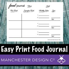 Easy Print Daily Food Journal PDF