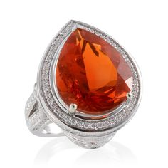 ILIANA 18K White Gold Jalisco Fire Opal and Diamond Ring | Liquidation Channel
