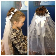 Here is an Updo I had the pleasure of doing on this little diva. She wanted something she saw on pintrest for her first holy communion. And it came out wonderful!