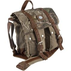 Outback Urban Edge Brown Camouflage Canvas Messenger Bag ($88) ❤ liked on Polyvore featuring bags, messenger bags, brown, canvas courier bag, brown bag, long bag and travel messenger bag