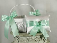 White and Mint Wedding Ring Bearer Pillow Flower by EuphoriaRoad, $49.95