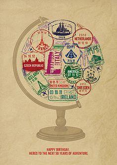 Personalised Passport Stamp Globe Print