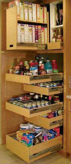 This is the website for a company that does roll out cabinets but it has tons of great ideas for kitchen/pantry storage Kitchen Organization Pantry, Pantry Storage, Kitchen Pantry, Kitchen Storage, Home Organization, Organizing Ideas, Pantry Cabinets, Kitchen Cabinetry, Pantry Cupboard