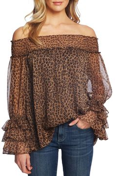 Find CeCe Leopard Print Off Shoulder Ruffle Blouse online. Shop the latest collection of CeCe Leopard Print Off Shoulder Ruffle Blouse from the popular stores - all in one Dressy Tops, Casual Dressy, Blouse Online, Printed Blouse, Blouses For Women, Off The Shoulder, Cold Shoulder, Cute Outfits, Ruffle Blouse