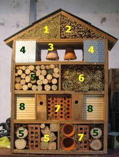 "6 things cool things to have in your garden for kids this summer! - Toby and Roo - Hotel de insectos. Cada ""habitación"" de este hotel atrae a un tipo de insecto, todos muy útil - Garden Crafts, Garden Projects, Insect Crafts, Insect Art, Garden Fun, Diy Garden Toys, Garden Ideas Kids, Diy Projects, Garden Care"