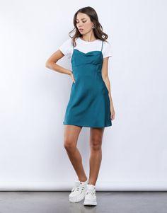 Grace Teal Polka Dot Slip Dress – Mod and Retro Clothing Slip Dress Outfit, Mini Slip Dress, Jeans Dress, Dress Outfits, Retro Outfits, Casual Outfits, Fashion Outfits, Indie Outfits, Girly Outfits