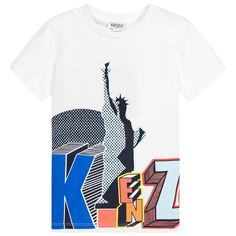 Kenzo - White Cotton Jersey Monuments T-Shirt |