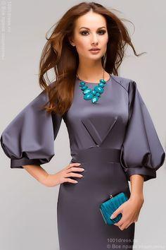 """Недорогое длинное вечернее платье годе цвета """"антрацит"""" с пышным рукавом реглан в интернет-магазине 1001DRESS"""