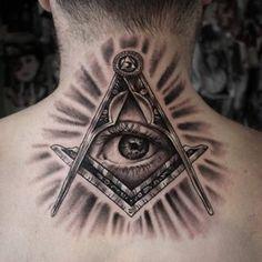 Black And Grey Tattoo Color Of Illuminati Eye Tattoos At Back Tattoo Design Ideas  Link : http://www.ontattoos.com/