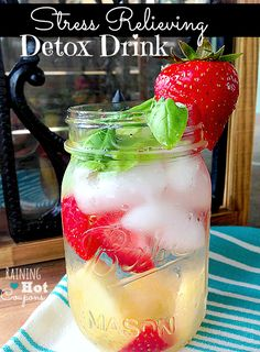 "Stress Relieving Detox Drink, looks gorgeous & refreshing! pinner wrote, ""This always makes me feel SO much better when I drink it! I try to drink it a couple times a week!"" #hydrate"