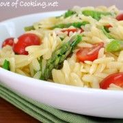 For the Love of Cooking » Lemon Orzo Salad with Asparagus and Tomatoes AND Giveaway Winner!