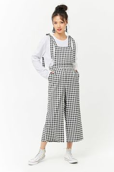 Gingham Tie-Strap Overalls | Forever21