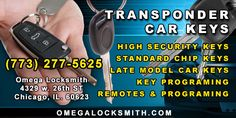 Omega Locksmith offers the best Transponder Keys Replacement & Ignition Key Replacement services in Chicago.We replace your car keys Call 773-277-5625