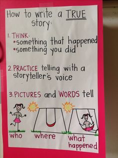 Writers Workshop- Steps on how to write a true story to guide the students' writing. Narrative Writing Kindergarten, Kindergarten Anchor Charts, Writing Anchor Charts, First Grade Writing, Writing Lessons, Teaching Writing, Writing Skills, In Kindergarten, Writing Ideas