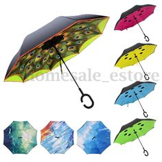 Creative Windproof Upside Reverse Double Layer Umbrella Folding Inverted Car #Unbranded