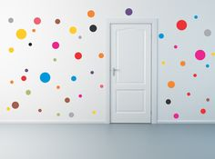 50 Polka Dot wall decals by AriseDecals on Etsy, $11.99