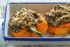 Stuffed bell peppers with rice and gouda cheese