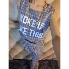Женская свободного покроя плед шаблон костюм, рукавов письмо печать пуловеры рубашка шнурок талии тонкий шаровары брюки карандаш found on Polyvore