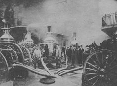 Old New Orleans | Royal Street fire, engines pump from well at Bourbon and Iberville ...