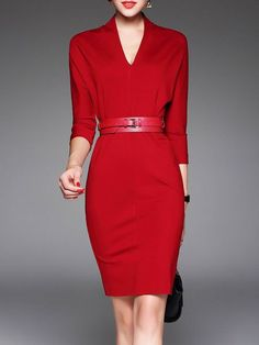 Shop Midi Dresses - Red Sheath V Neck Plain 3/4 Sleeve Midi Dress online. Discover unique designers fashion at StyleWe.com. - lace summer dress, navy blue casual dress, pink and white dress *sponsored https://www.pinterest.com/dresses_dress/ https://www.pinterest.com/explore/dresses/ https://www.pinterest.com/dresses_dress/little-black-dress/ http://www.torrid.com/dresses/