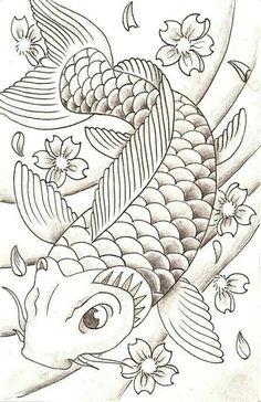 """Képtalálat a következőre: """"koi art"""" Koi Fish Drawing, Koi Fish Tattoo, Fish Drawings, Art Drawings, Koi Tattoo Design, Tattoo Design Drawings, Tattoo Sketches, Drawing Sketches, Koi Art"""