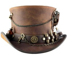 Head N Home Timeport Brown Leather Top Hat with Gadgets Galore