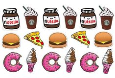 Food stickers / nutella sticker / starbucks sticker / tumblr stickers / pack of 17