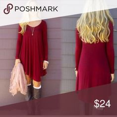 ✨Holiday Dress✨ Gorgeous deep red, long sleeves and asymmetrical design! Dresses Midi