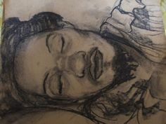 coal drawing of sleeping man - Sketching by Anne Elisabeth Sandnæss at touchtalent 19917